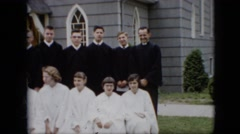 1957: the religious choir outside posing for a picture. PENNSYLVANIA Stock Footage