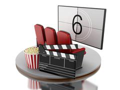 3d Cinema movie theater with popcorn and cinema clap. Piirros
