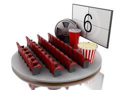 3d Cinema movie theater. Piirros
