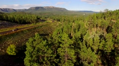 4K Aerial Tilt Up Reveal Highway and Mogollon Rim Stock Footage