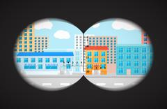 View from the binoculars on flat city buildings Stock Illustration