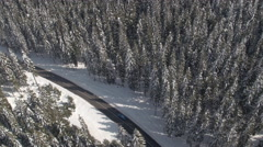 AERIAL: Car driving through amazing snowy spruce forest in winter wonderland Stock Footage