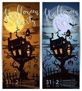 Halloween party vertical flyers with spooky castle Stock Illustration