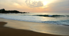 Beach at sunset of Biarritz, France Stock Footage