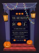 Halloween party invitation with doorway Stock Illustration