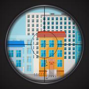 Sniper takes aim at house window, square flat illustration Stock Illustration