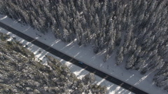 AERIAL: Car driving through beautiful snowy spruce forest in winter wonderland Stock Footage