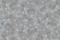 Cobble circular pattern block pavement texture background. Top view Stock Photos