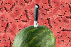 Riped watermelon with knife and red meat background Stock Photos