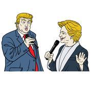 Presidential Candidates Donald Trump Vs Hillary Clinton Cartoon Caricature Stock Illustration