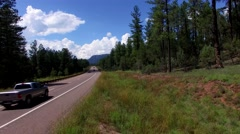 4K Aerial Fly Forward by Mountain Highway Mogollon Rim Stock Footage