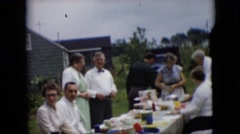 1957: outdoor feast people picnic happy posing PENNSYLVANIA Stock Footage