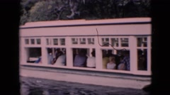 1958: a bunch of family and friends and strangers taking a tour boat  Stock Footage