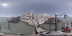 Gondola near Piazza San Marco and Doge palace in Venice, Italy, 360 VR video Stock Footage