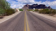 4K Aerial Fly Over Old Mining Camp Road Arizona Stock Footage