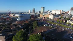 Low aerial view of Birmingham city centre, UK. Stock Footage