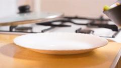 Primavera Pasta with mushrooms Stock Footage