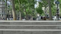 Place de la République town square in Paris, France, slow motion. Stock Footage