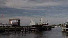 Reedham Swing Bridge opening (part) Stock Footage