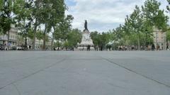 Place de la République town square in Paris, France. Stock Footage
