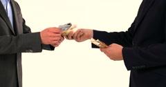 Money exchange Euros to Dollars Businessman Making a Deal 4K Money close Stock Footage