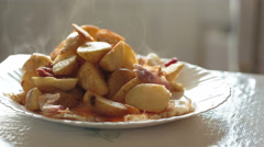 Potato fried and bacon Stock Footage