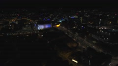 Aerial view of Birmingham city centre, UK at night. Stock Footage