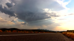 Time Lapse Arizona Desert Highway with Approaching Dust Storm Stock Footage