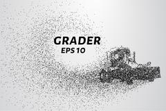 Grader particle. Construction equipment consists of small circles. Stock Illustration