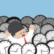 Businessman drowning in clock Piirros