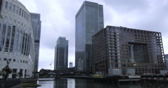 Time lapse view of the financial district of the Docklands in London Stock Footage