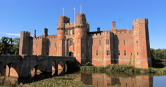 View of a moated brick castle in Southern England Stock Footage