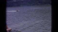 1965: speedboat race on river with spectators NEW JERSEY Stock Footage