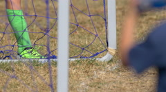Details of a net and goal at a soccer football game. Stock Footage