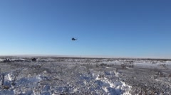 Helicopter in the winter sky Stock Footage
