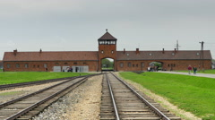 4K Auschwitz II, Birkenau Gate House Concentration Camp, Gate of Death, Poland Stock Footage