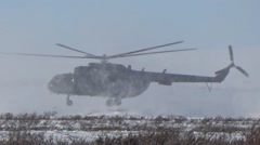 Takeoff of mi-8 helicopter Stock Footage