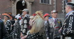 View of pearly kings and queens, an ancient London tradition Stock Footage