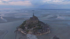 Aerial Le Mont-Saint-Michel, Normandie, France Stock Footage