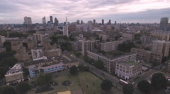 Aerial push in view of the skyline of the city of London Stock Footage