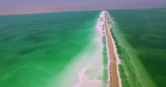 Aerial Shot Dead Sea solt Stock Footage