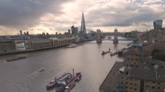 The river Thames in London towards Tower bridge and the Shard Stock Footage