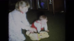 1966: a cute baby learns to crawl on christmas day ATHENS OHIO Stock Footage
