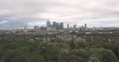 Aerial of the Docklands in London Stock Footage