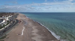 Aerial of the beach in Worthing, South of England Stock Footage