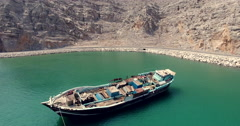 Boat and car Musandam Sultanate of Oman Stock Footage