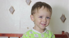 Boy Kid in a crib laughing Stock Footage