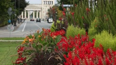 Flowers and Propylaea in Munich, Germany, Europe Stock Footage