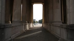 Inside the Propylaea in Munich - view of the obelisk Stock Footage