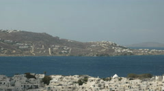 Panning shot of the town of chora on the island of mykonos, greece Stock Footage